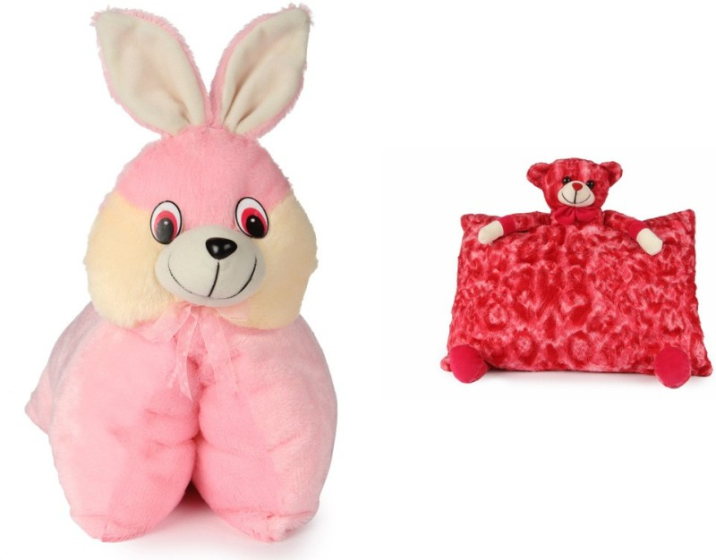 Deals India Deals India Folding Bunny Pillow(40 cm) and Red Teddy Pillow( 40 cm) set of 2 - 40 cm(Multicolor)