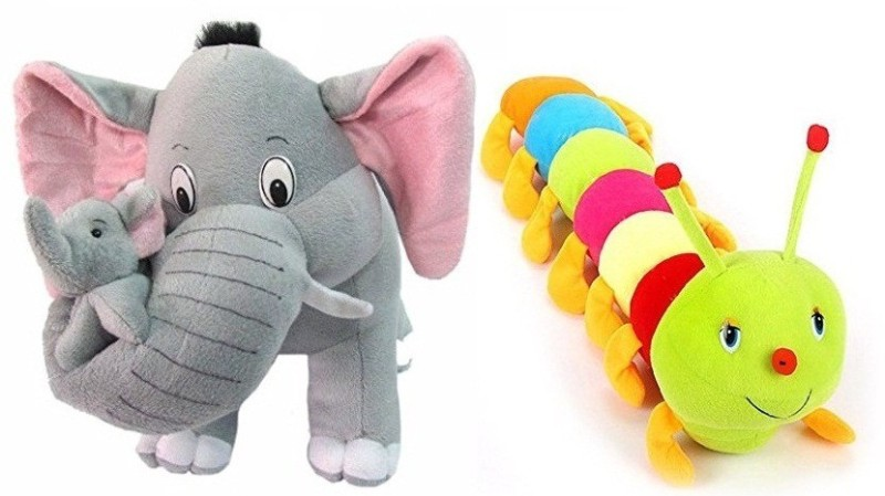 SHOP24HOME Mother Elephant with Two Babies 40cm with Colourful Soft Caterpillor 55cm - 30 cm(Multicolor)