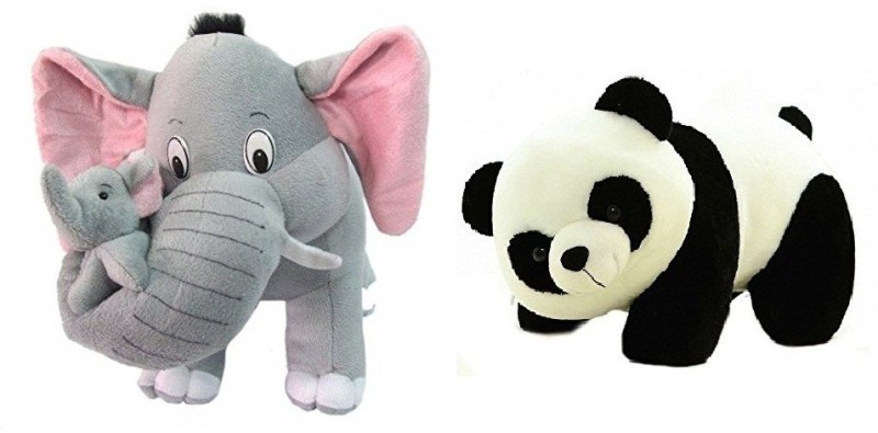 SHOP24HOME Grey Mother Elephant with Two Babies 40cm with Black/White Panda 30cm - 30 cm(Multicolor)