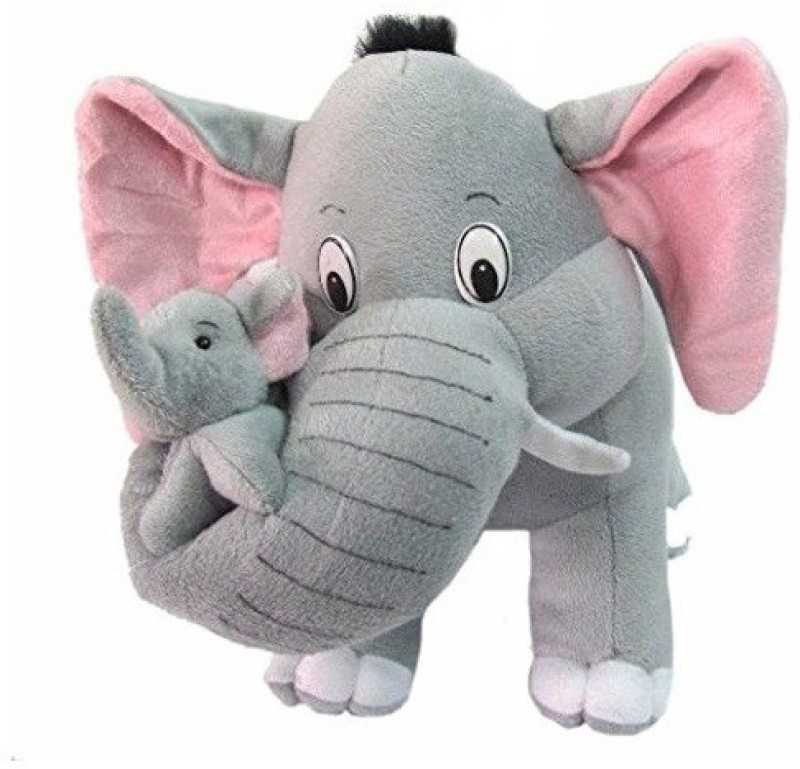 SHOP24HOME Elephant With two babies Soft Toy 40cm - 40 cm(Grey)