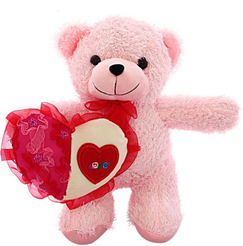DealBindaas Skoda Bear with Heart Valentine Cute Soft Toy - 30 cm(Pink)