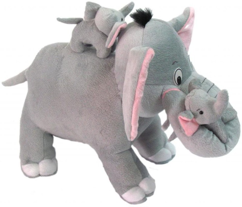 city retail Mother elephant with two babies - 40 cm(grey)