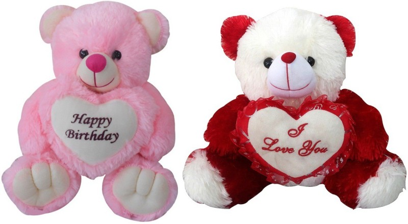 Saugat Traders Happy Birthday & I Love You Teddy - 40 cm(Pink, Red)