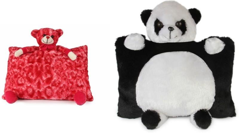 Deals India Deals India Red Teddy Pillow( 40 cm) and Panda Pillow (40 cm) set of 2 - 40 cm(Multicolor)