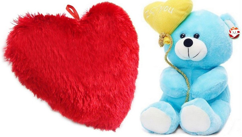 MGPLifestyle - Valentine Special Combo of Red Heart Cuision (48x40cm) with Blue I love you Ballon Heart Teddy (20cm) - 18 cm(Multicolor)