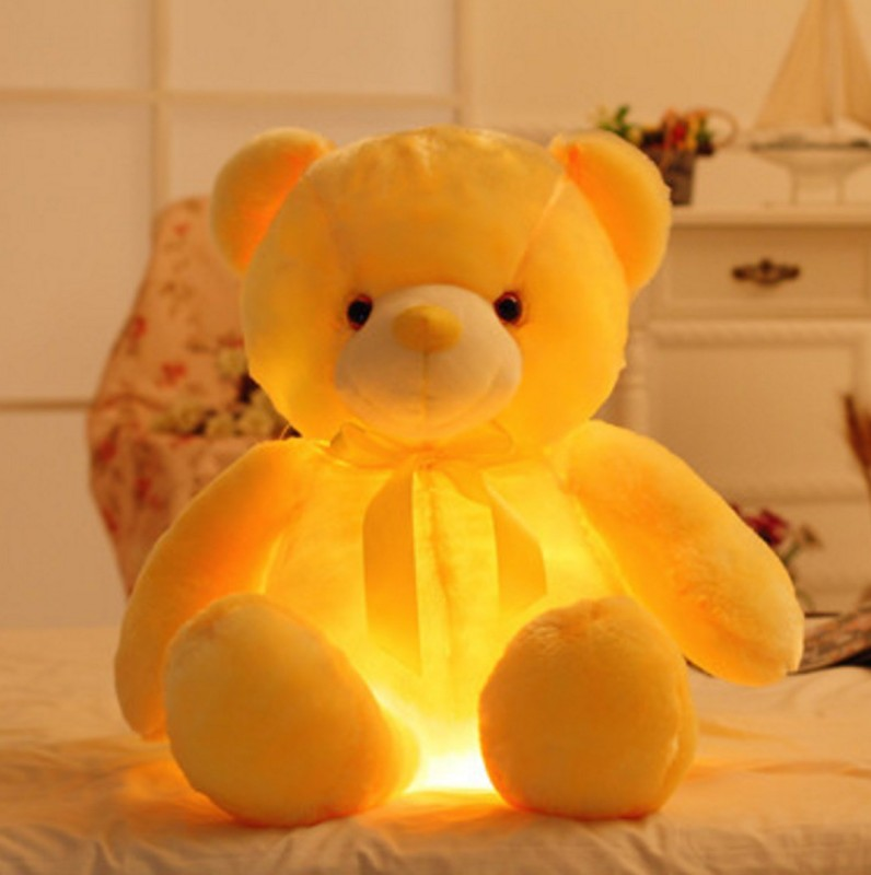 EZ Life LED Light Teddy Pillow Plush Toy - Yellow - 40 cm