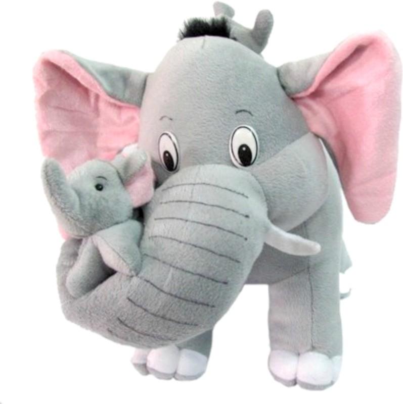 Tabby Cute Elephant With Two Babies - 40 cm(Grey)
