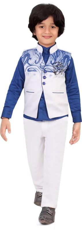 Jeet Waistcoat Suit Set Self Design Boys Suit