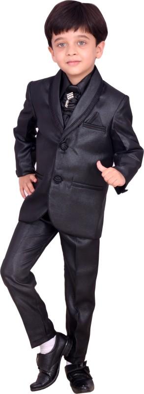 Arshia Fashions Blazer, Shirt and Trouser Set Self Design Boys Suit