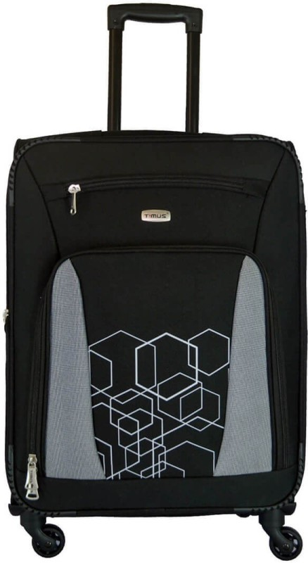 Timus MOROCCO SPINNER 65 CM 4 WHEEL STROLLEY SUITCASE Expandable Check-in Luggage - 24 inch(Black)