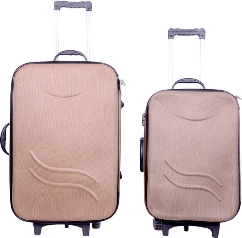 Sk Bags Hkg Klick 20+24 trolly set Expandable Check-in Luggage - 24 inch(Brown)