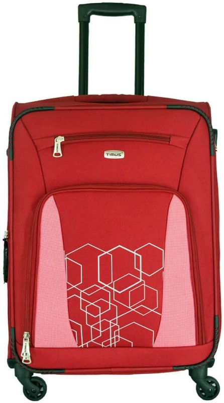 Timus MOROCCO SPINNER 65 CM 4 WHEEL STROLLEY SUITCASE Expandable Check-in Luggage - 24 inch(Red)
