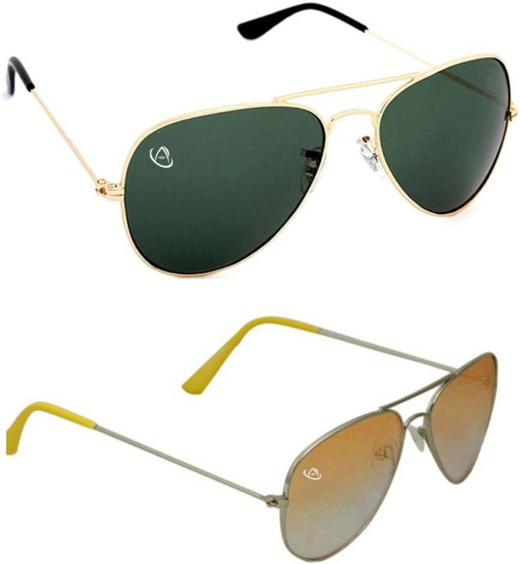 Aventus Aviator Sunglasses(Green, Yellow)