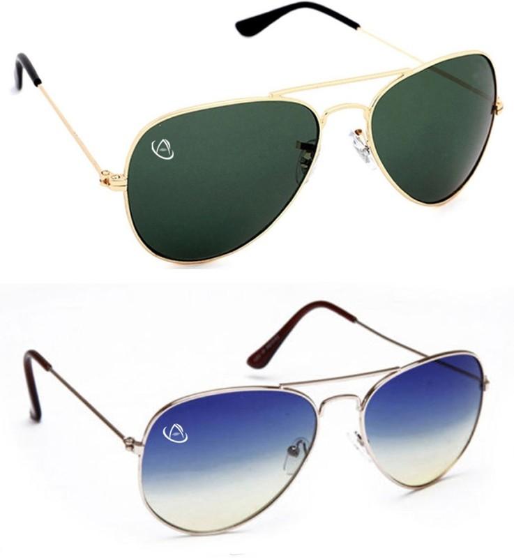 Aventus Aviator Sunglasses(Green, Blue)