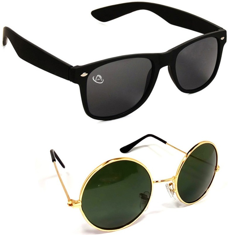 Aventus Round Sunglasses(Black, Green)