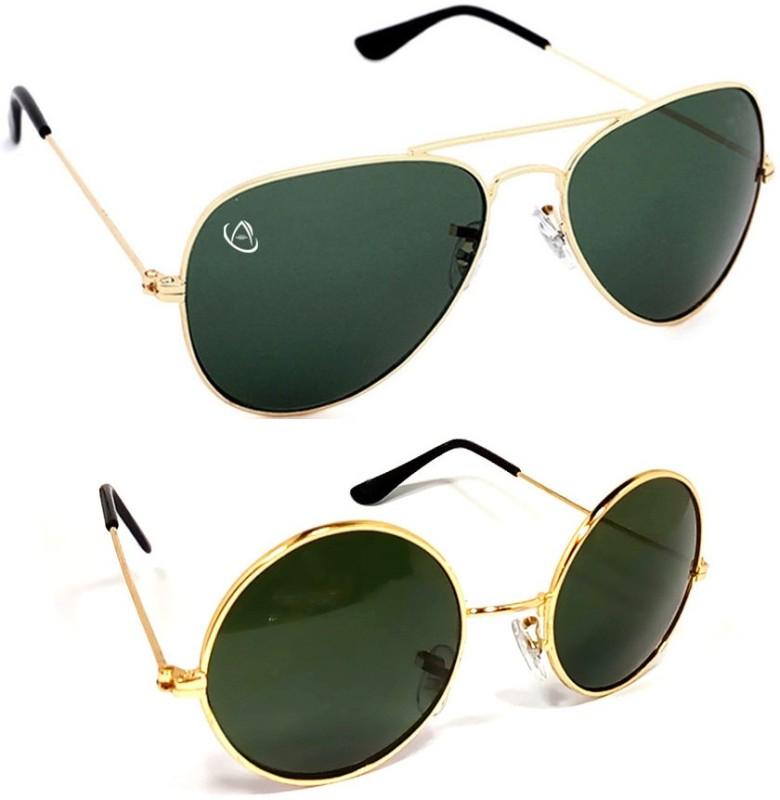 Aventus Round, Aviator Sunglasses(Green)