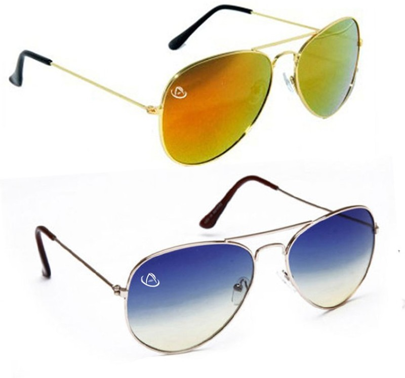 Aventus Aviator Sunglasses(Blue, Brown)