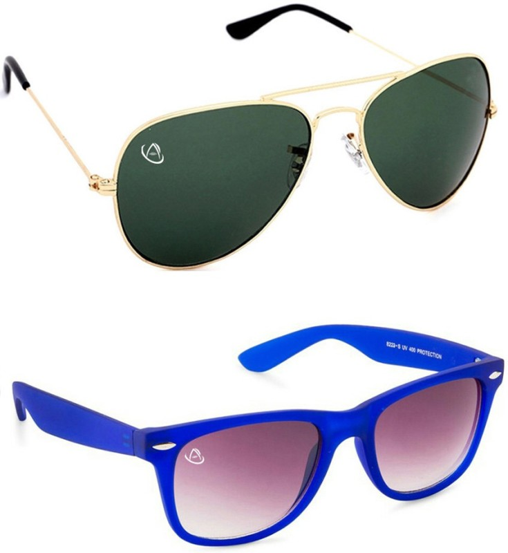 Aventus Aviator, Wayfarer Sunglasses(Green, Blue)
