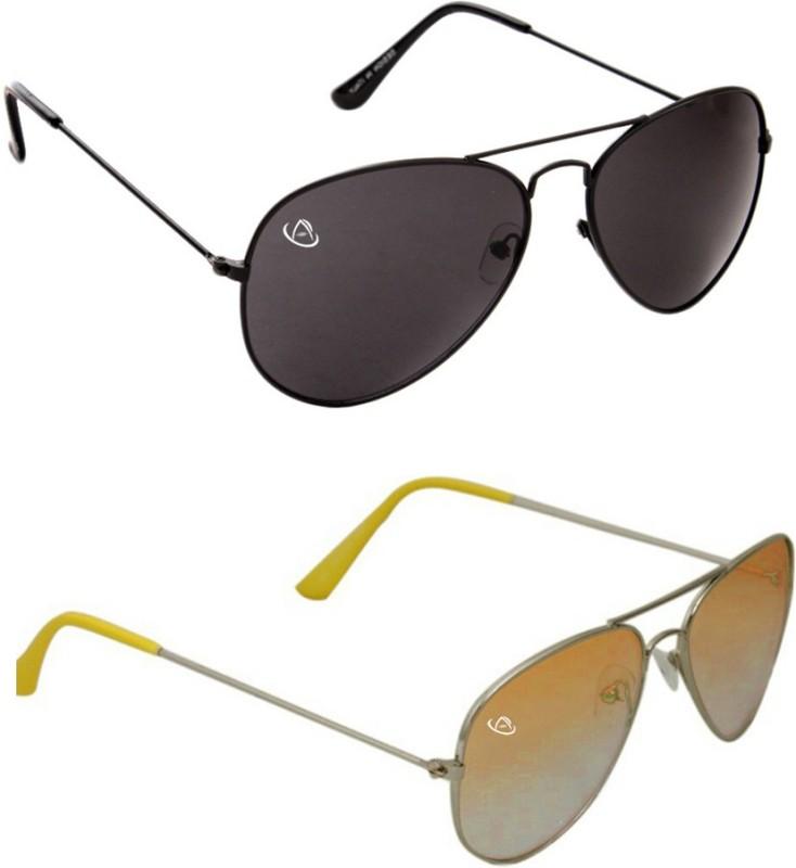 Aventus Aviator Sunglasses(Black, Yellow)