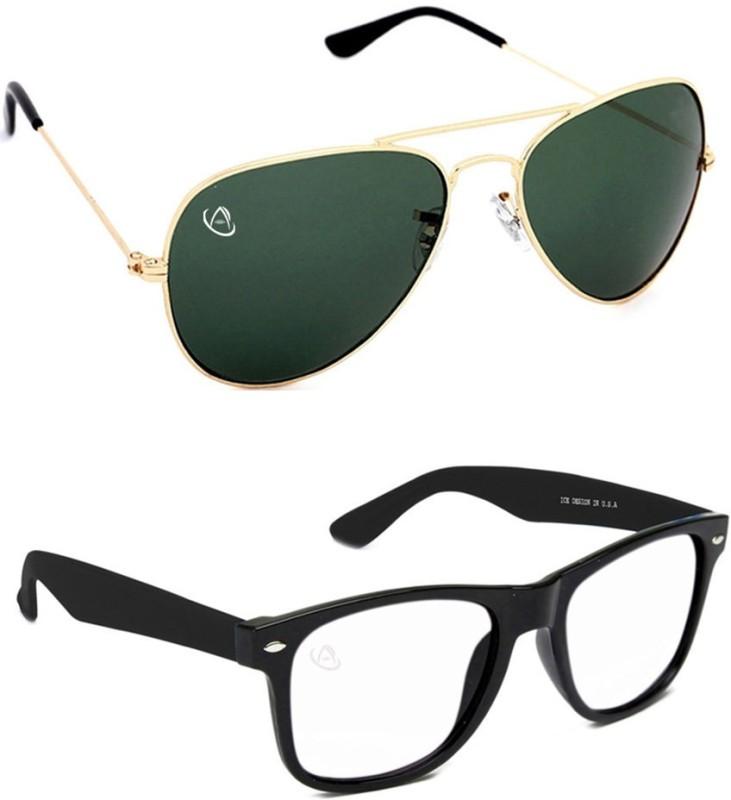 Aventus Aviator, Wayfarer Sunglasses(Green, Clear)