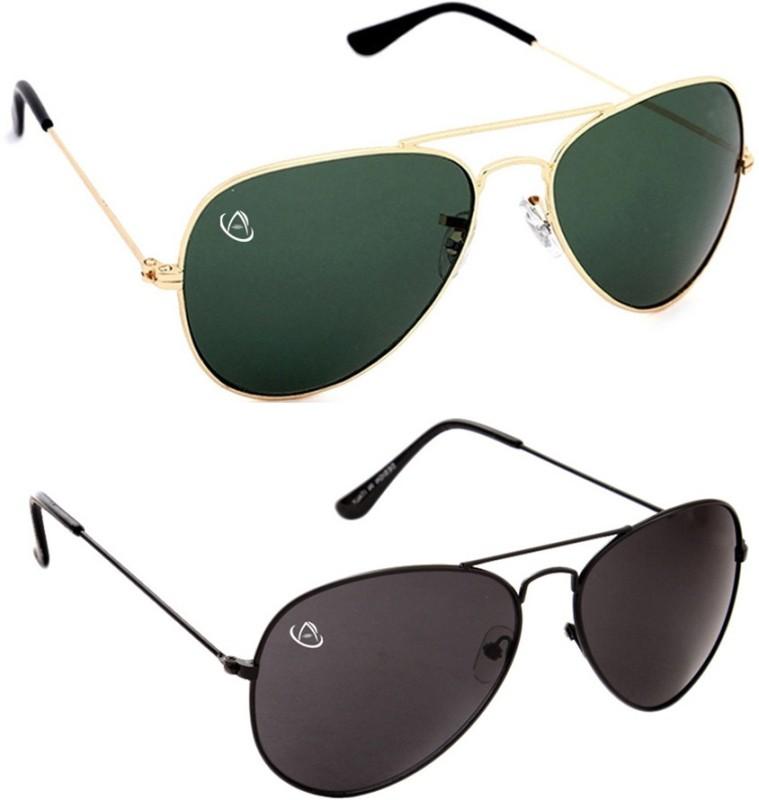 Aventus Aviator Sunglasses(Green, Black)