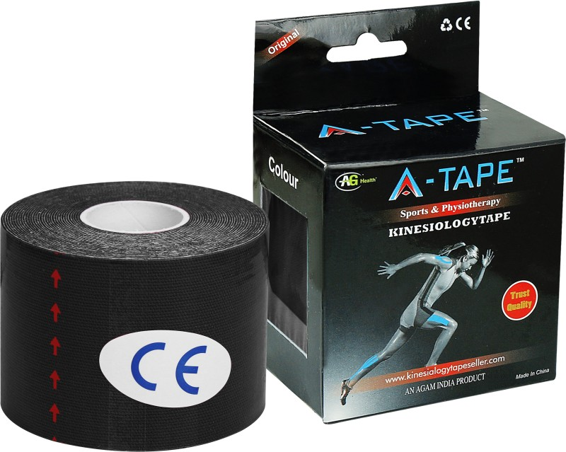 A -TAPE Kinesiology Tape Knee, Calf & Thigh Support (Free Size, Black)
