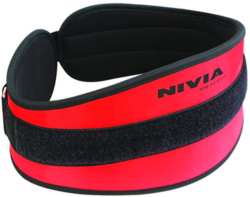 Nivia Training Belt Back Support (L, Red, Black)