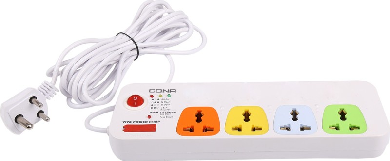 Cona Smyle VIVA 4+1 Power Strip / Spike Guard 4 Sockets + 1 Switch with 5 Mtrs Wire 4 Socket Surge Protector(Multicolor)