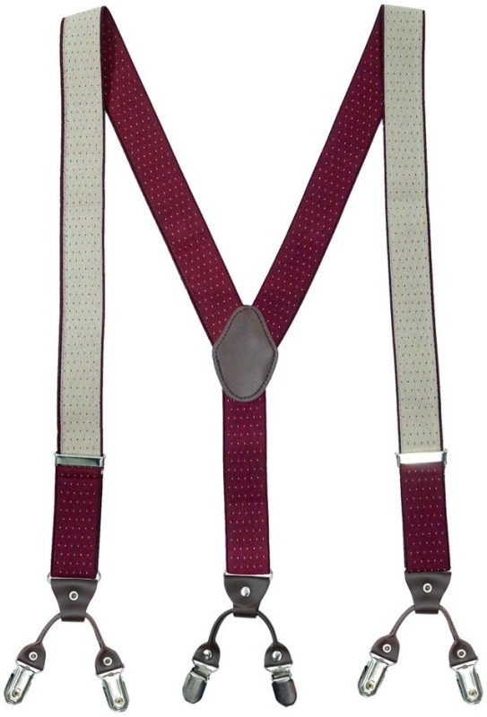 The Tie Hub Y- Back Suspenders for Men(Maroon)