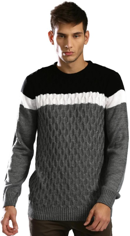HRX by Hrithik Roshan Solid Round Neck Casual Men Black, Grey Sweater