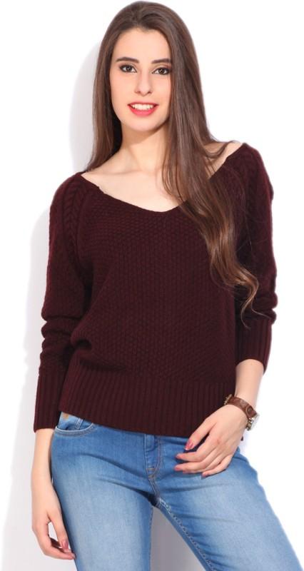 Pepe Jeans Self Design Casual Women Maroon Sweater