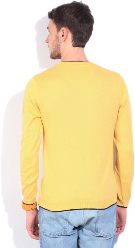 Killer Solid V-neck Casual Men Yellow Sweater