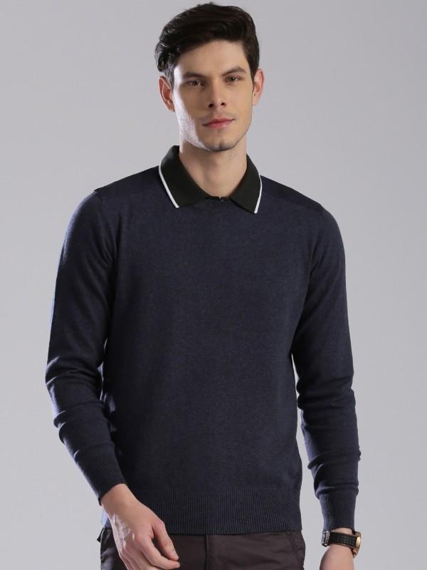 HRX by Hrithik Roshan Solid Round Neck Casual Men Dark Blue Sweater