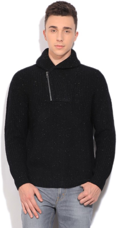 Nautica Self Design Casual Men Black Sweater