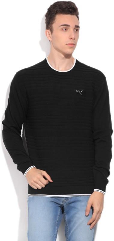 Puma Striped Round Neck Casual Men White, Black Sweater