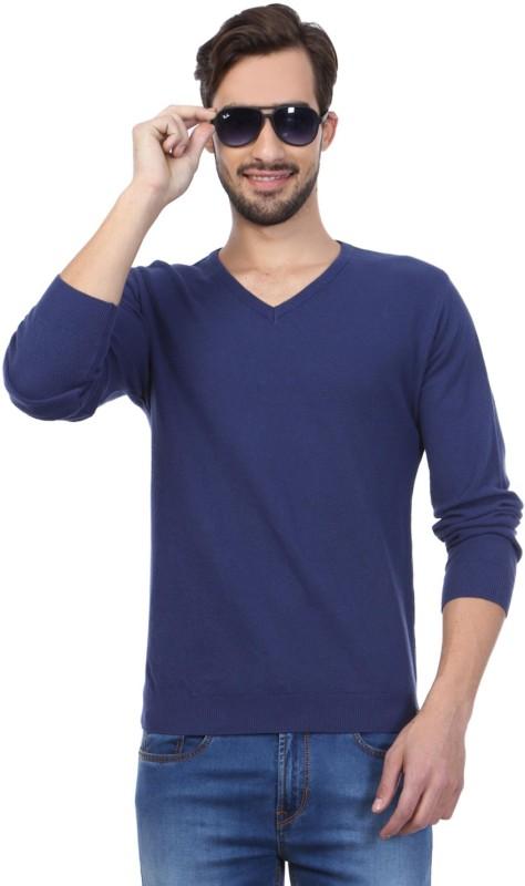 Peter England Self Design V-neck Men Blue Sweater