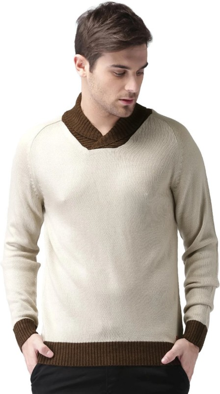 Mast & Harbour Self Design Round Neck Casual Men Beige Sweater