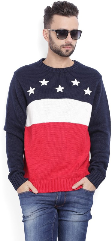 Gant Self Design Crew Neck Casual Men Red Sweater