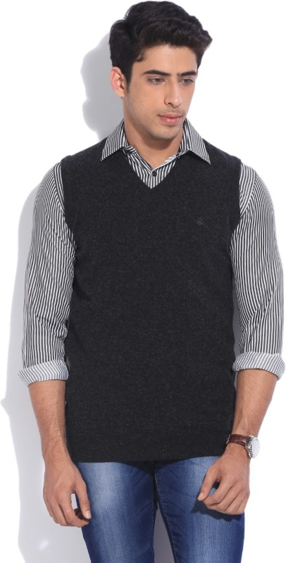 United Colors of Benetton Solid V-neck Casual Men Black, Grey Sweater