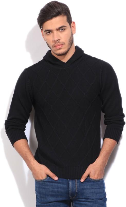 Pepe Jeans Self Design Casual Men Black Sweater