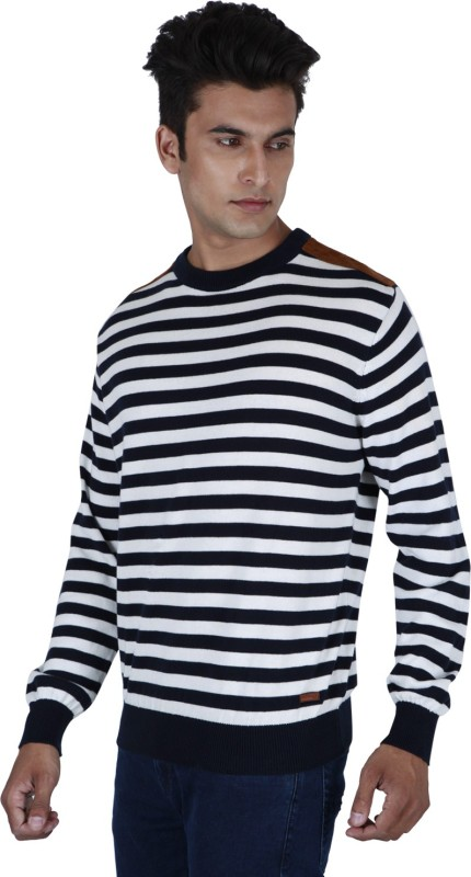 Provogue Striped Round Neck Casual Men Black Sweater
