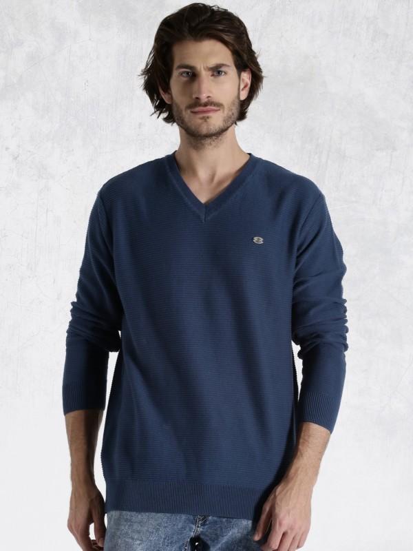 Roadster Self Design V-neck Casual Men Blue Sweater