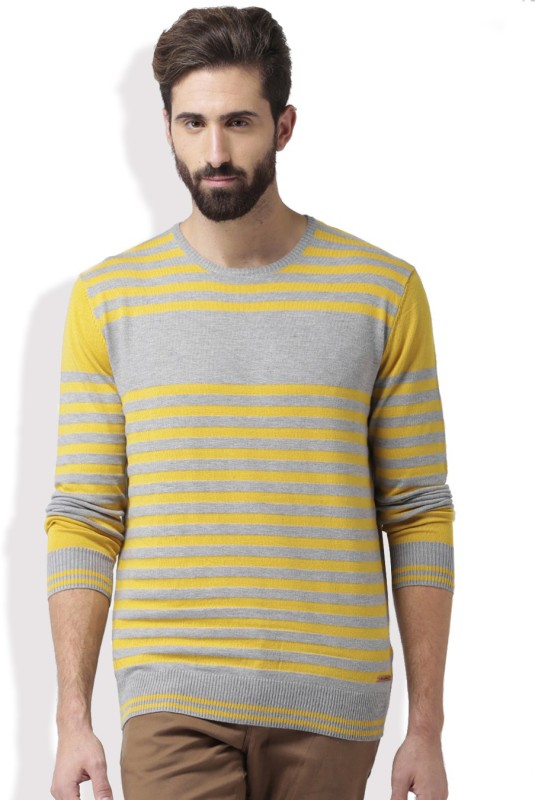 Mast & Harbour Self Design Round Neck Casual Men Grey, Yellow Sweater