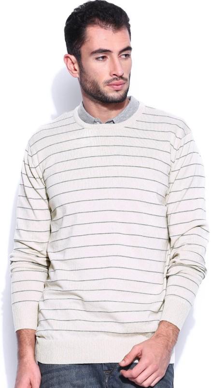 Kook N Keech Striped Round Neck Casual Men Beige Sweater