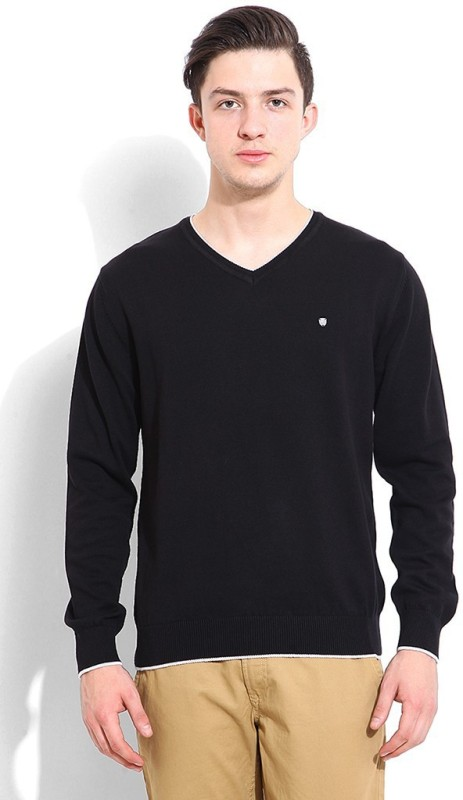 Blackberrys Solid V-neck Casual Men Black Sweater
