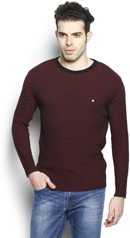 Blackberrys Self Design Round Neck Party Men Maroon Sweater