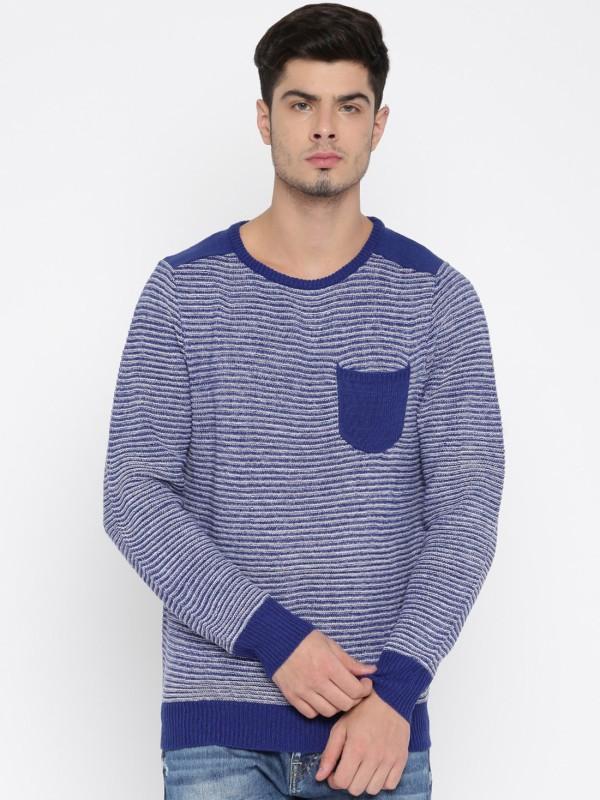 Roadster Self Design Round Neck Casual Men Blue, White Sweater
