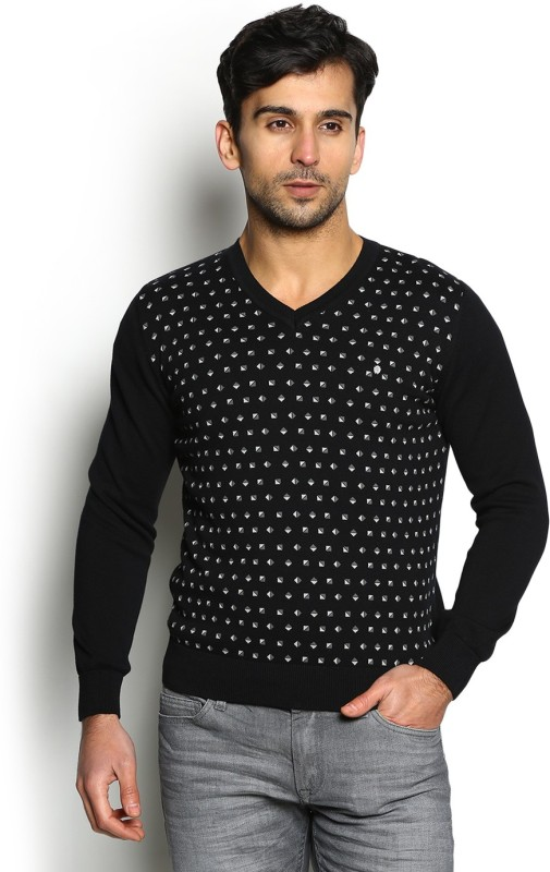 Blackberrys Self Design V-neck Party Men Black Sweater