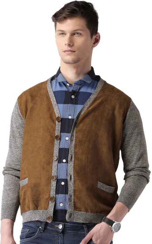 Mast & Harbour Solid V-neck Casual Men Brown, Beige Sweater