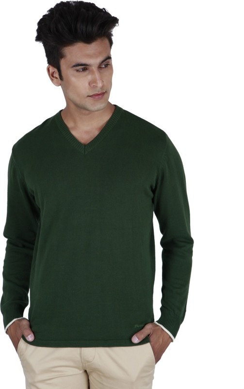 Provogue Solid V-neck Casual Men Green Sweater